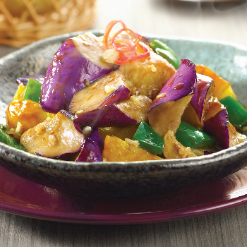Recipe Stir Fried Eggplant, Potato and Green Bell Pepper
